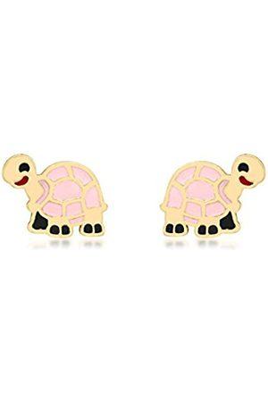Carissima Gold Women Earrings - 9ct Gold Pink Enamel Tortoise Stud Earrings