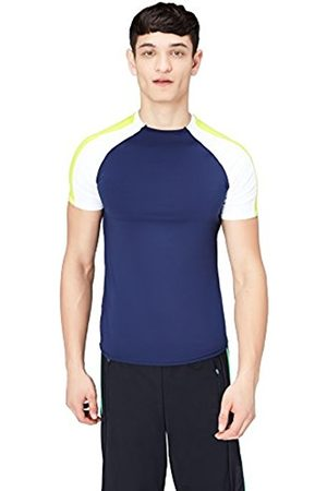FIND Men's Colour Block Sports T-Shirt, (Navy/ /Citrine)