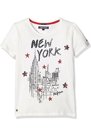 Tommy Hilfiger Girl's New York CN Knit S/S T-Shirt, -Weiß (Snow 118)