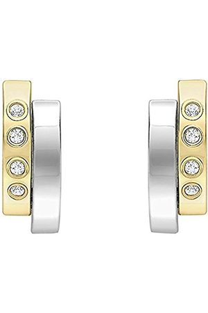 Carissima Gold 9ct 2 Tone Yellow and White Cubic Zirconia Small 2 Band Earrings 2.58.9909