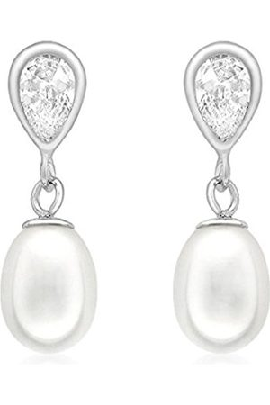 Carissima Gold 9ct Pearl and Cubic Zirconia Teardrop Earrings
