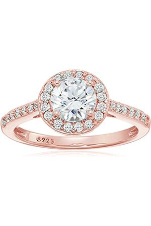 La Lumiere Rose -Platinum Plated Sterling Silver Swarovski Zirconia 1.5 ct Round Center Halo Ring size M