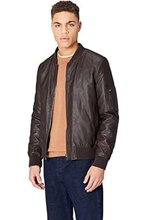 FIND Men's Faux Leather Bomber Jacket