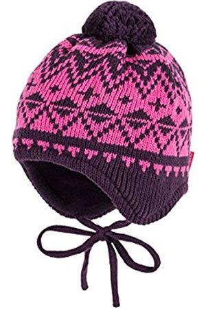 maximo Girl's Mütze, Ausgenäht, Rhomben, Bommel, Bindeband Hat, Multicoloured-Mehrfarbig (Pflaume/ 7760)