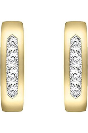 Carissima Gold Women's 9 ct Yellow Cubic Zirconia Curved Band Earrings