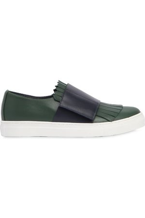 MARNI JUNIOR FRINGED LEATHER STRAP SNEAKERS