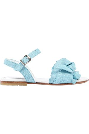ANDREA MONTELPARE GLITTERED SUEDE SANDALS W/ BOW DETAIL