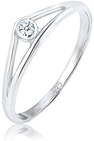 DIAMORE Women's 925 Sterling Diamond Engagement Band Ring
