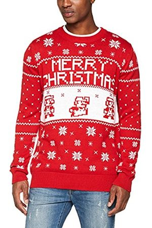 Meroncourt Men's Nintendo Super Bros Knitted Pixel Mario Merry Christmas Sweater Jumper