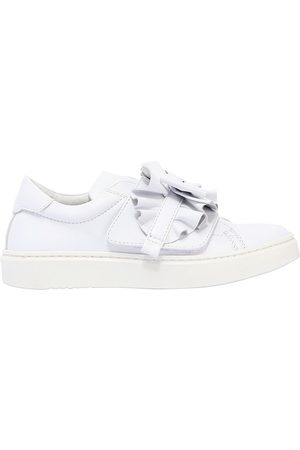 ANDREA MONTELPARE Girls Trainers - LEATHER SLIP-ON SNEAKERS W/ BOW DETAIL