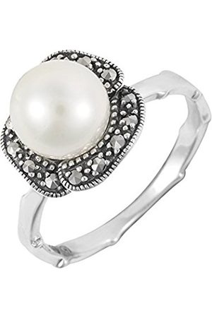 ESSE Sterling Silver Floral Pearl and Marcasite Ring