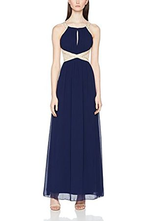 Little Mistress Women's Navy Embellished Empire Waist Maxi Party Dress