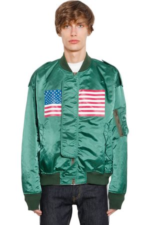 FACETASM US FLAG PRINTED SATIN BOMBER JACKET