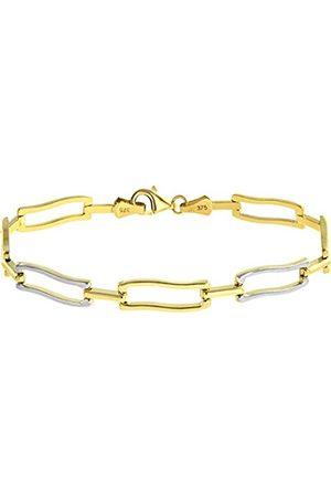 Citerna Women Bracelets - 9 ct Yellow and White Alternate Waved Rectangular Link Bracelet of Length 19.5 cm