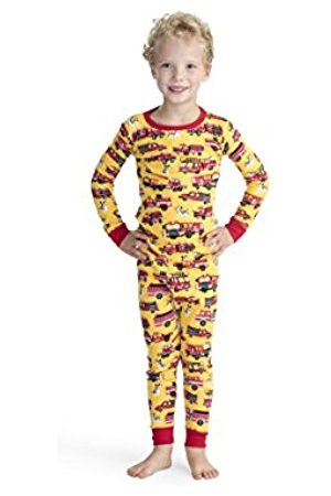 Hatley Boy's Organic Cotton Long Sleeve Printed Pyjama Sets, (Fire Trucks and Dalmatians)