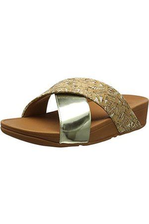 FitFlop Women's Lulu Cross Slide Mirror/Cork Open Toe Sandals
