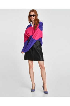 Zara FAUX LEATHER SKIRT WITH TOPSTITCHING