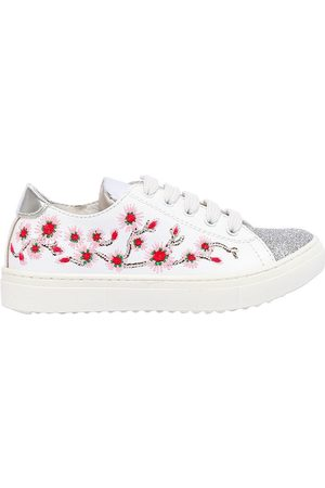 ANDREA MONTELPARE GLITTERED & EMBROIDERED LEATHER SNEAKERS