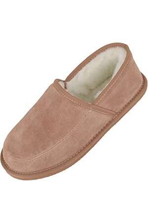 Snugrugs Wool Lined Suede Slippers With Lightweight Sole, Camel