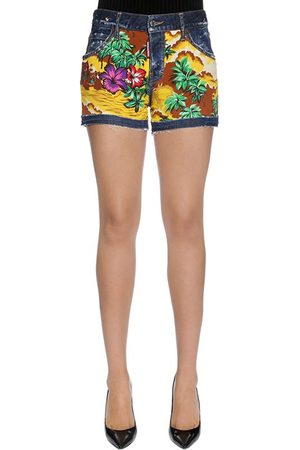 Dsquared2 HAWAII PRINTED COTTON DENIM SHORTS
