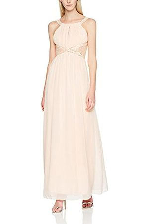 Little Mistress Women's Nude Embellished Empire Waist Maxi Party Dress