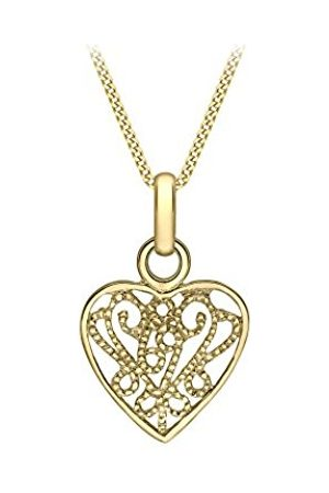 Carissima Gold Women's 9 ct Yellow Milgrain Fili Heart on Diamond Cut Curb Chain Necklace
