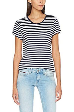 Tommy Hilfiger Women's TJW Linen Blend Stripe Tee T-Shirt, ( Iris/Bright 901)