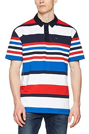 Tommy Hilfiger Men's Tjm Stripe Short Sleeve Rugby Sweatshirt, ( Iris/Multi 902)