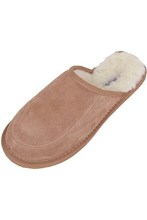Snugrugs Wool Lined Suede Mule Slippers With Lightweight Sole, Camel