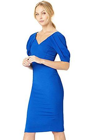 TRUTH & FABLE Women's Dress Midi V-Neck Volume Sleeve