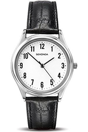 Sekonda Men's Quartz Watch with White Dial Analogue Display and Leather Strap 3621.27