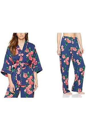 IRIS & LILLY Women's Twill Floral Print Kimono and Pyjama Bottoms Set, Multi-coloured (Floral Print)