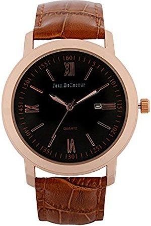 Jean Bellecour Men's Analogue Classic Quartz Watch with Leather Strap S0036-2