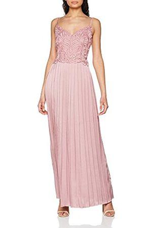 Little Mistress Women's Blush Embroidered Satin Maxi Pleats Party Dress