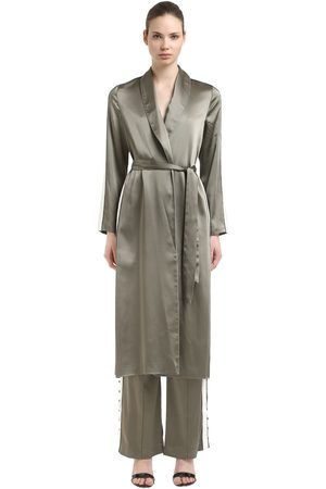 JONATHAN SIMKHAI SATIN CREPE ROBE W/ SIDE BANDS