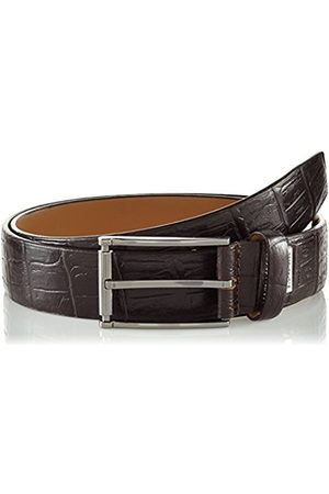 LINDENMANN G.CHABROLLE Mens leather belt/Mens belt, business belt, leather belt curved with print, dark , Größe/Size:105