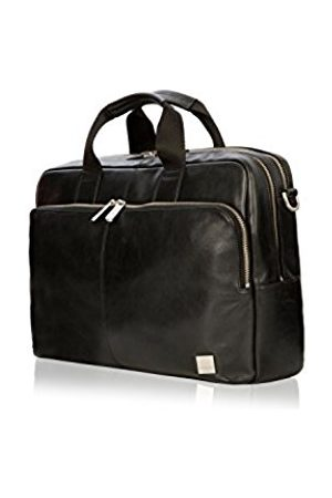 """Knomo 155-259-BLK""""Amesbury"""" Double Zip Leather Briefcase for 15.6-Inch Laptop"""
