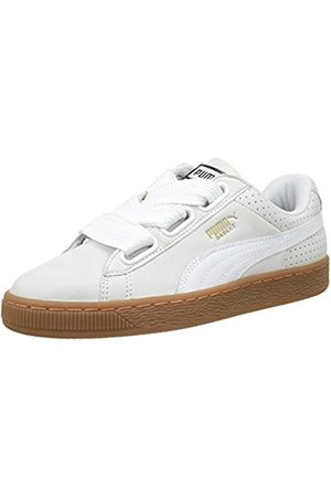 Womens Basket Heart Perf Gum Trainers, Gold/White Puma