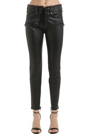 UNRAVEL SKINNY LACE PLONGE LEATHER PANTS