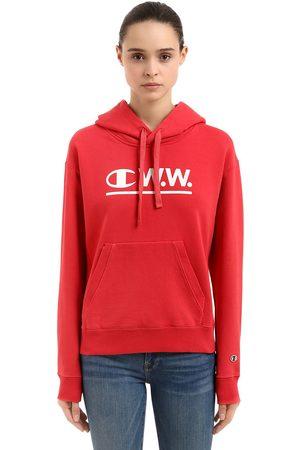 Champion Women Sweatshirts - WOOD WOOD LOGO HOODED COTTON SWEATSHIRT