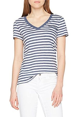 Tommy Hilfiger Women's Elena Easy High-Nk Rib Tee Vest, (Snow /Sky Captain STP 901)