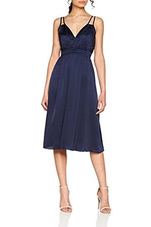 Little Mistress Women's Navy Strappy Satin Midi Party Dress