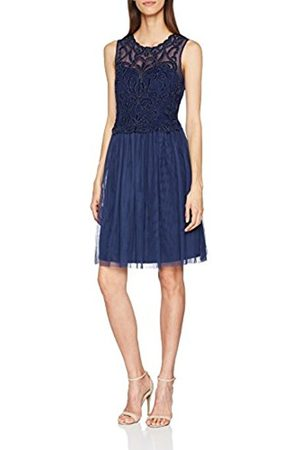 Little Mistress Women's Navy Embroidered Mesh Midi Party Dress