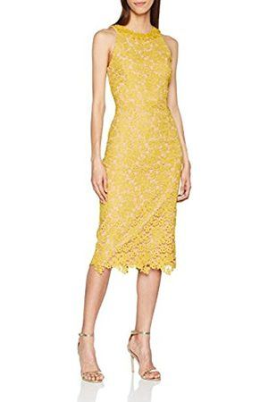 Little Mistress Women's Mustard Lace Bodycon Party Dress