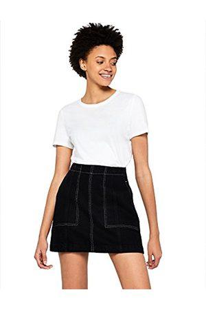 FIND Women's Contrast Stitch Denim Skirt