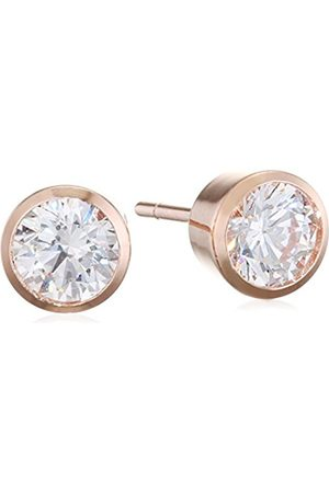 Carissima Gold 9 ct Rose CZ Rubover Stud Earrings
