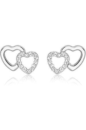 Carissima Gold Women's 9 ct Cubic Zirconia Pave Set Double Heart 10.5 x 7.7 mm Stud Earrings