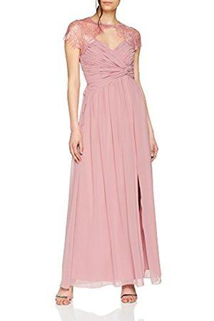Little Mistress Women's Blush Wrap Maxi Lace Neckline Party Dress