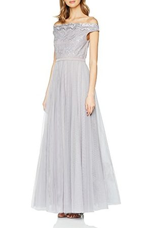 Little Mistress Women's Shoulder Embroidered Mesh Maxi Party Dress
