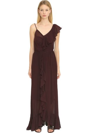 Mes Demoiselles RUFFLED SILK GEORGETTE LONG DRESS